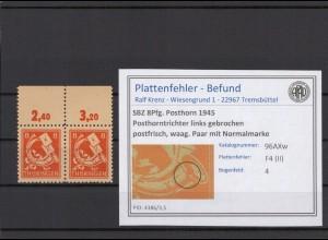SBZ 1945 PLATTENFEHLER Nr 96AXw II postfrisch (409339)