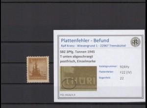 SBZ 1945 PLATTENFEHLER Nr 92AYy IV postfrisch (409375)