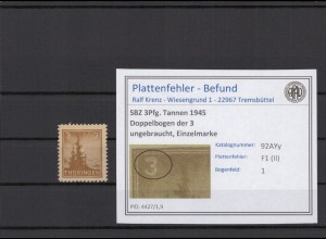 SBZ 1945 PLATTENFEHLER Nr 92AYy II postfrisch (409376)