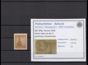 SBZ 1945 PLATTENFEHLER Nr 92AYz1 I postfrisch (409377)