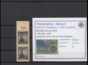 SBZ 1945 PLATTENFEHLER Nr 93AXp1 III postfrisch (409381)