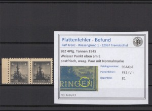 SBZ 1945 PLATTENFEHLER Nr 93AXp1 VI postfrisch (409383)