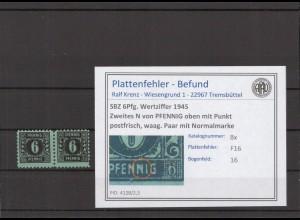 SBZ 1945 PLATTENFEHLER Nr 8x F16 postfrisch (409665)