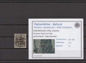 SBZ 1945 PLATTENFEHLER Nr 182 F12 gestempelt (409681)