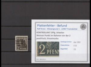 SBZ 1945 PLATTENFEHLER Nr 182 F15 postfrisch (409682)