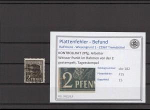 SBZ 1945 PLATTENFEHLER Nr 182 F15 gestempelt (409683)