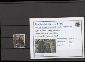 SBZ 1945 PLATTENFEHLER Nr 182 F19 gestempelt (409685)