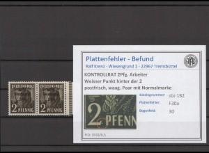 SBZ 1945 PLATTENFEHLER Nr 182 F30a postfrisch (409686)