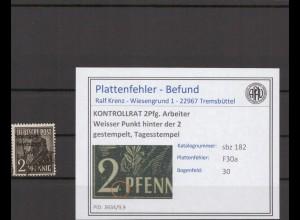 SBZ 1945 PLATTENFEHLER Nr 182 F19 postfrisch (409687)