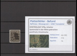 SBZ 1945 PLATTENFEHLER Nr 182 F50 gestempelt (409692)