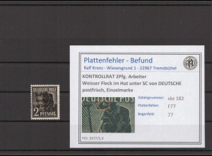 SBZ 1945 PLATTENFEHLER Nr 182 F30a gestempelt (409695)