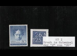 BERLIN 1949 PLATTENFEHLER Nr 87 I ungebraucht (410018)